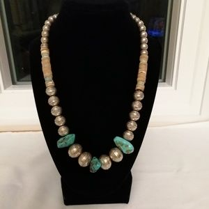 Silver, turquoise + shell Vintage 1973 necklace